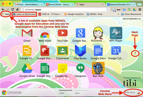 Chrome apps and web store